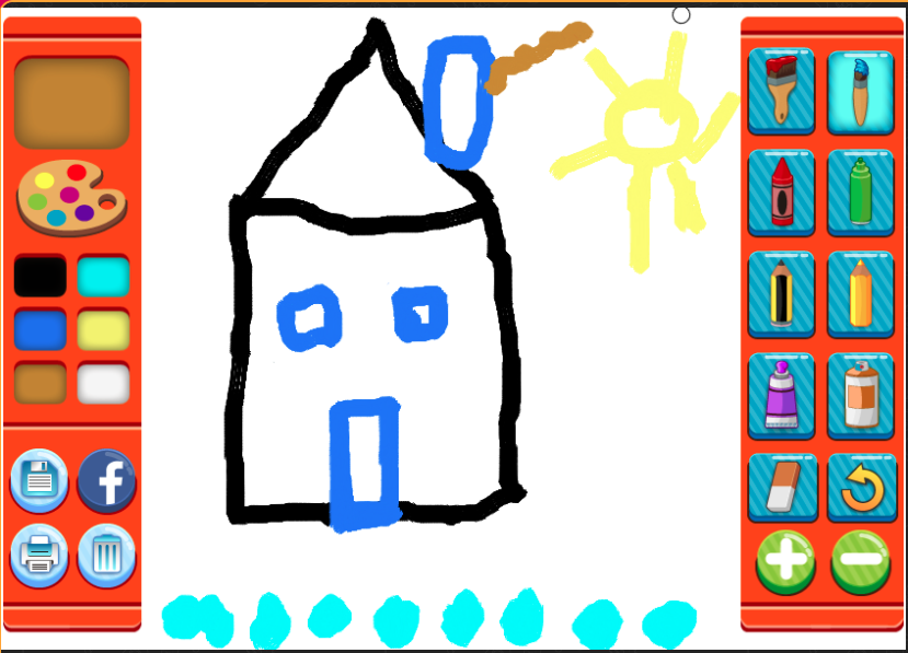 Painting of a house in  apaint program
