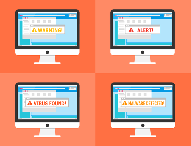 advertisement with four computer screens showing Malware, Virus, Alert, Warning!