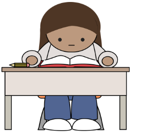 girl reading book at desk