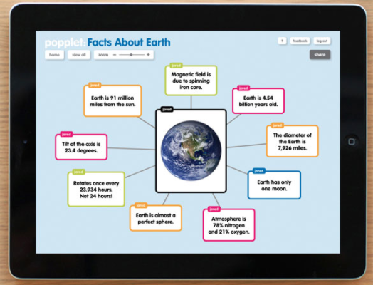 Shows popplet visual map about Earth