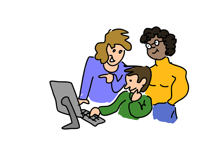 Three students at desktop cartoon