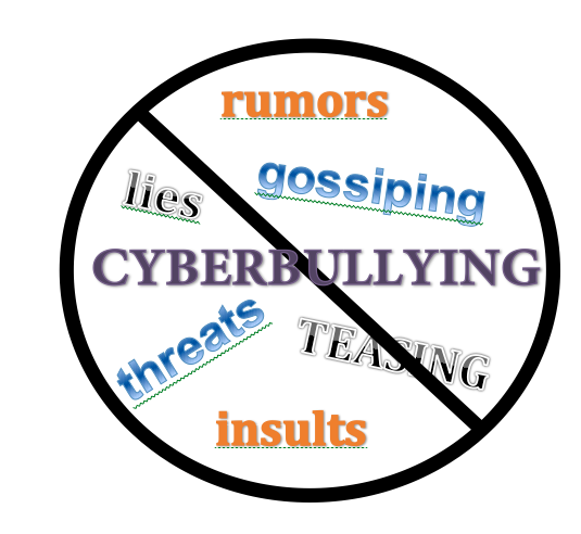Sign crossed out to stop cyberbullying