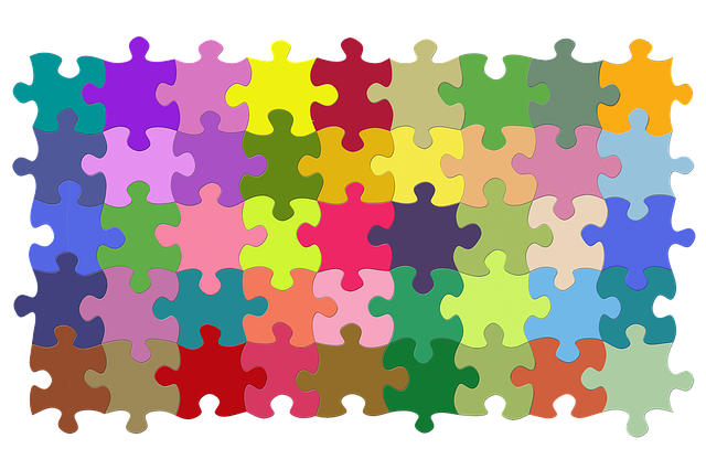 jigsaw puzzle with different plain colors