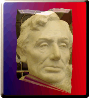 Abe Lincoln statue head on trading card
