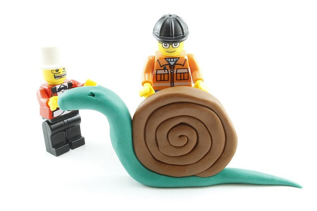 Claymation snail and leggo characters