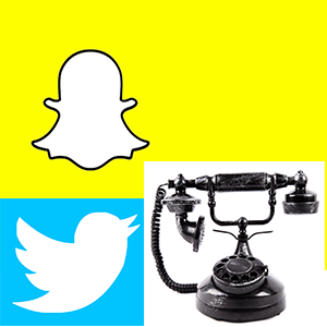 image of snapchat ghost like figure, twitter bird, old phone