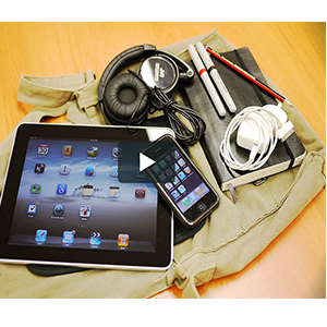 tech equipment, plugs, tablet, phone, headphones