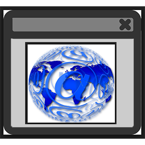 image of a web browser window with a globe in the middle
