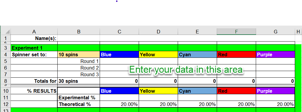 Screenshot of the spreadsheet ready to enter the spin data into.