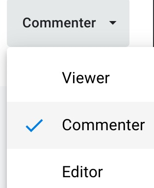 Commenter, viewer, editor rights that can be set