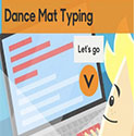 Image from BBC education showing the title Dance Mat Typing levels 1-4