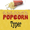 Popcorn Typer shows Popcorn and different typing practices for the home row and other rows and short words