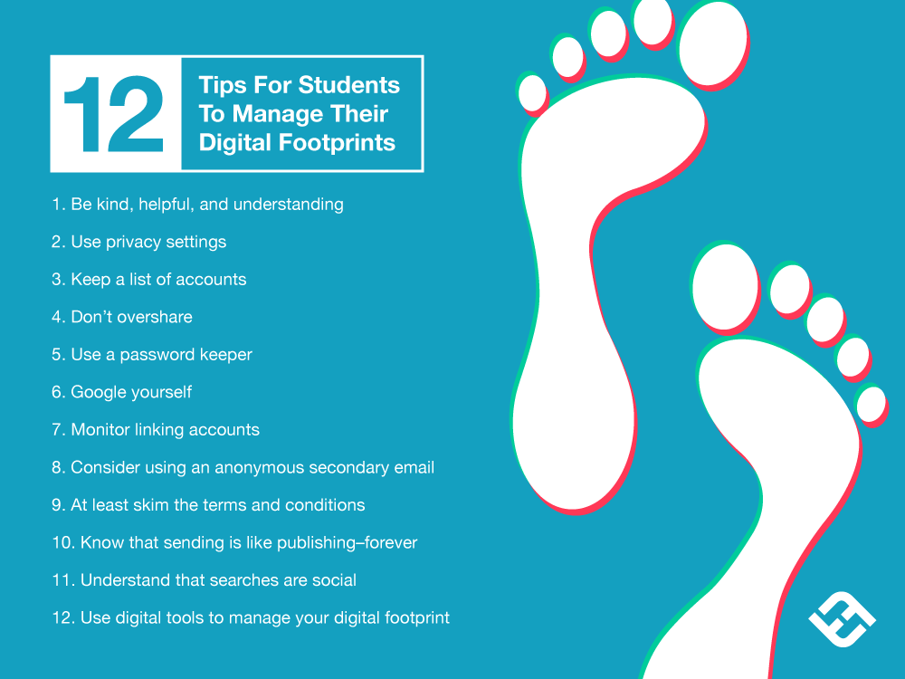 12 tips for students to manage a digital footprint from TeachThought