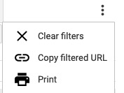 Screenshot of an Awesome Table menu showing options to Clear Filters, Copy filtered URL, and Print
