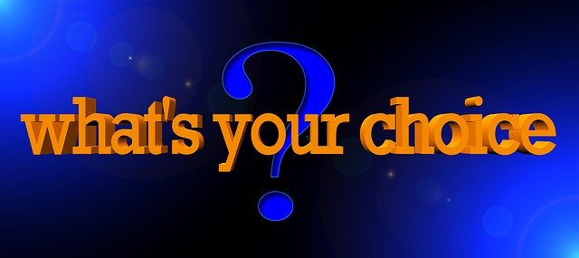 Dark blue background with a question mark and text: What's Your Choice in large letters.